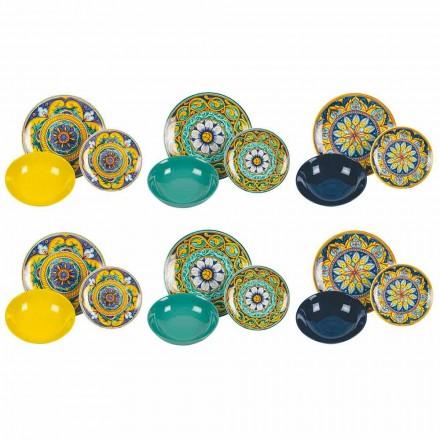 Servicio de mesa completo en porcelana y gres coloreado 18 piezas - Calabria