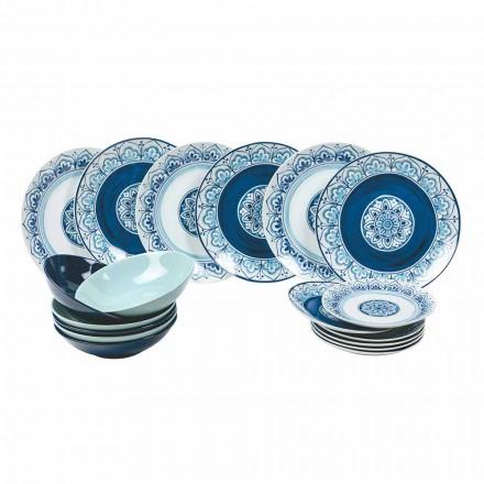 Servicio de mesa moderno, porcelana y placas de piedra, 18 piezas completas - Ravello