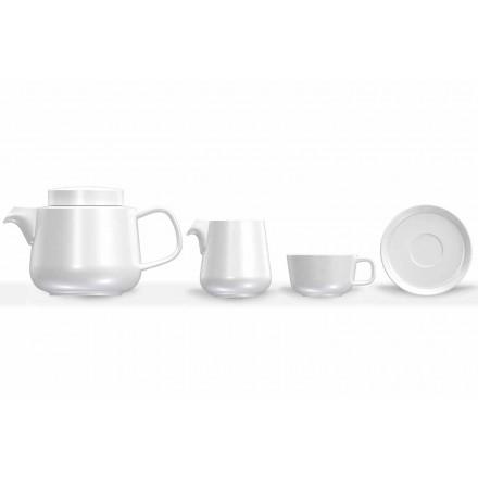 Servicio de taza y plato de porcelana, tetera y jarra de leche de porcelana 14 piezas - Ártico