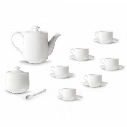 Juego de tazas de café en porcelana blanca apilable 15 piezas - Samantha