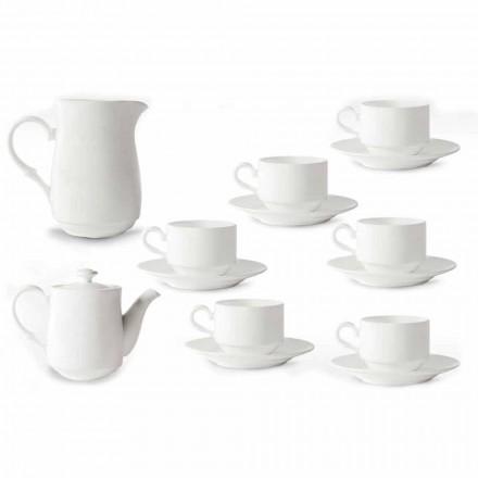 Servicio de tazas de capuchino de porcelana blanca 14 piezas de desayuno - Samantha
