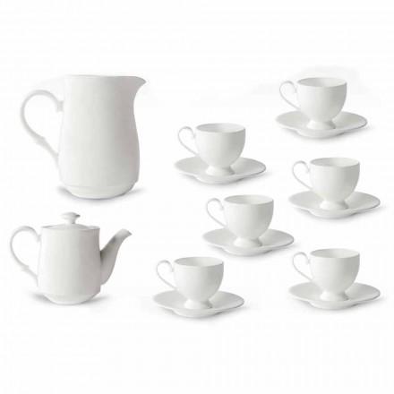 Servicio de Tazas Cappuccino con Pie 14 Piezas en Porcelana Blanca - Armanda