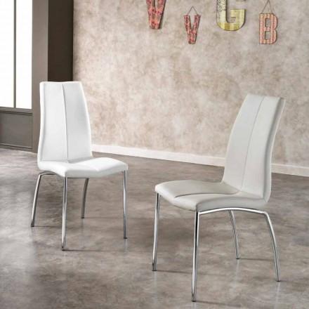 Set 4 sillas de diseño de ecopiel y metal cromado Alba