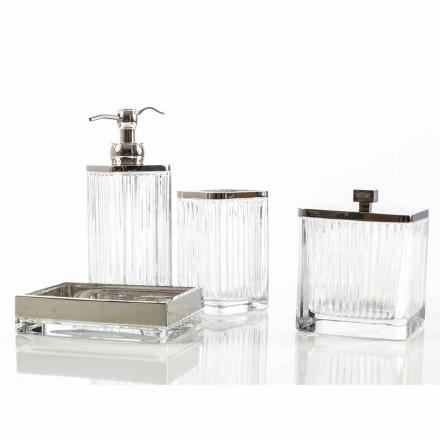 Encimera moderna de baño y accesorios en cristal priola y metal.