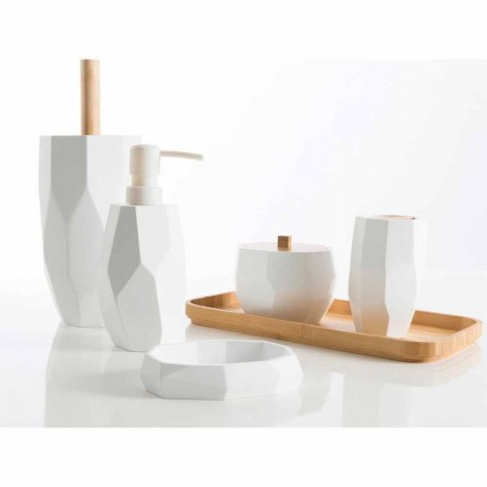 Conjunto de accesorios de baño de diseño en madera y resina Rivalba.