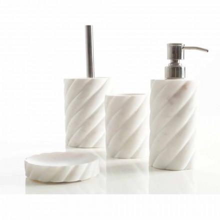 Set de accesorios de baño para baño en mármol calacatta monza.