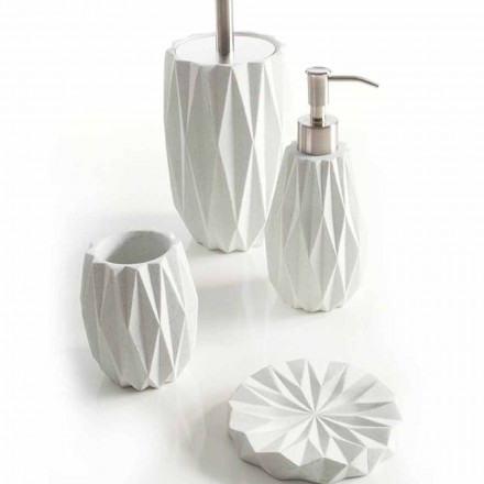 Conjunto de modernos accesorios de baño en resina blanca Levice.