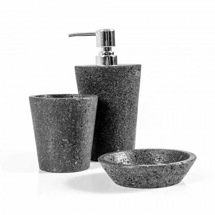Juego de accesorios de baño de piedra de lava de Montiano.