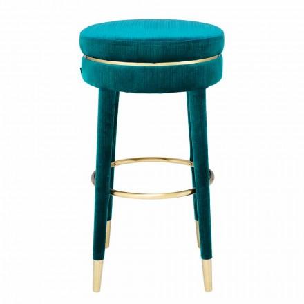 Taburete alto con asiento tapizado en tela y detalles en acero - Belluno
