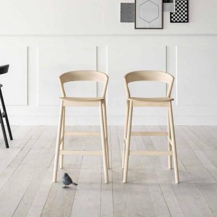 Taburete de cocina alto con estructura de madera de fresno Made in Italy - Oslo