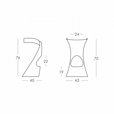 Taburete moderno de alto diseño en polietileno - Koncord Next by Slide