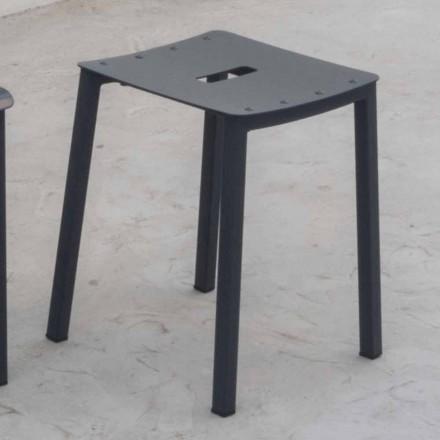 Taburete bajo apilable para exteriores moderno en aluminio Made in Italy - Dobla