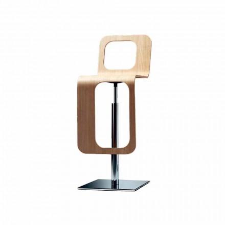 Taburete de cocina de diseño moderno en madera de roble y metal - Signorotto