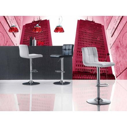 Taburete de diseño moderno, asiento de cuero ecológico - Delfina