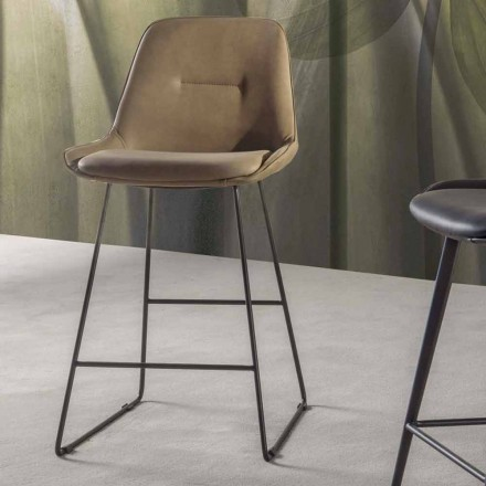 Taburete de diseño moderno con trineo de metal pintado - Ines