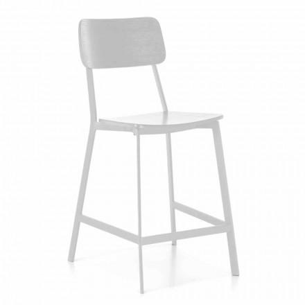 Taburete moderno de metal con asiento y respaldo en madera, 2 piezas - Habibi