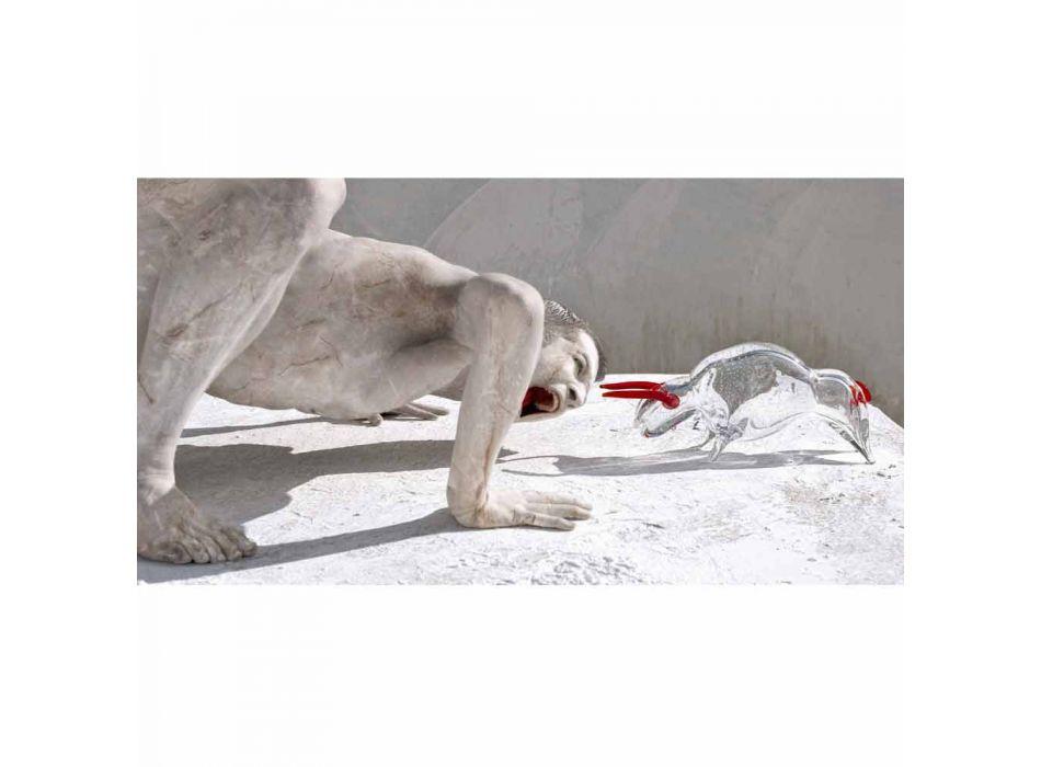 Adorno en forma de toro en vidrio rojo y transparente Made in Italy - Torero