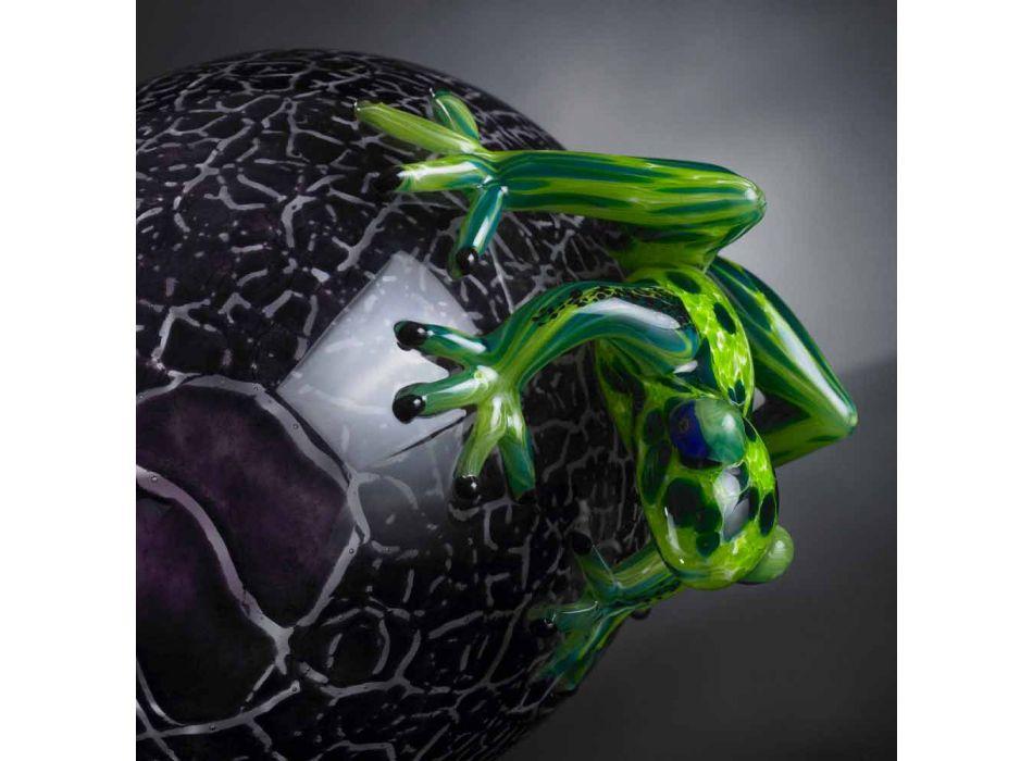 Adorno en forma de huevo con ranas en vidrio coloreado Made in Italy - Huevo
