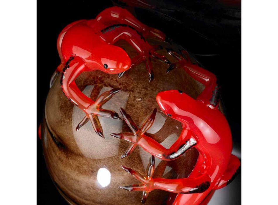 Adorno de vidrio coloreado en forma de huevo con lagartijas Made in Italy - Huevo
