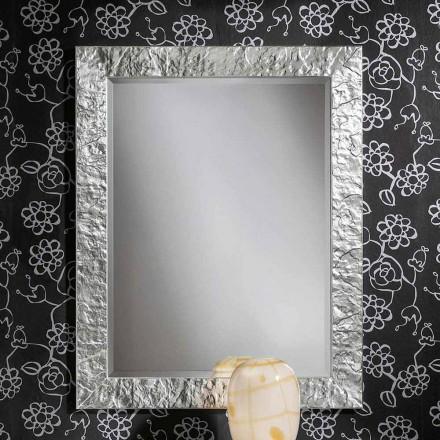 Espejo de pared hecho a mano en madera ayous de oro, producido en Italia, Antonio