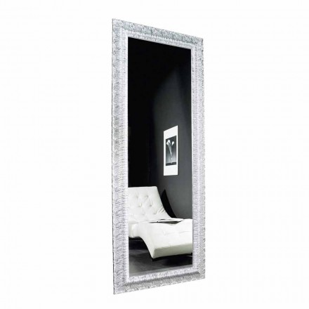 Espejo moderno de pared en madera dorado / plata, producido en Italia, Teodoro
