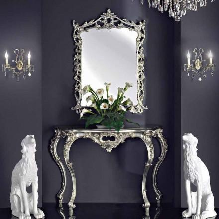 Espejo de pared, consola de madera y tapa, hecho a mano en Italia, Giacomo.