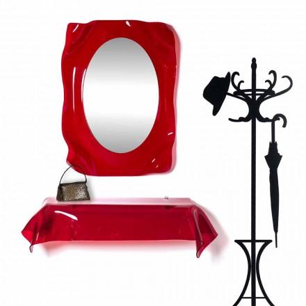 Espejo de pared de diseño moderno Diva rojo, hecho en Italia