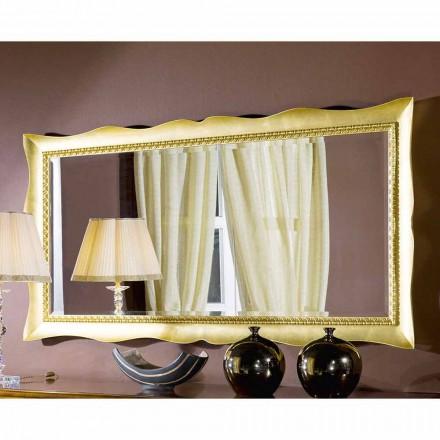 Espejo de pared hecho a mano en oro / plata madera, hecho en Italia, Luigi