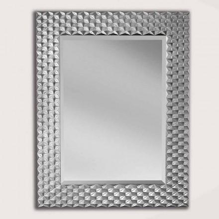 Espejo de pared en madera de plata / oro, producido en Italia, Giuseppe