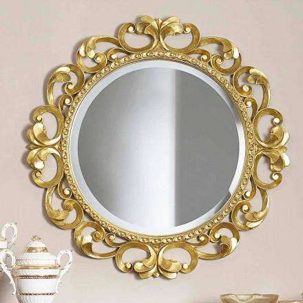 Espejo de pared de madera hecho a mano, producido completamente en Italia, Riccardo.