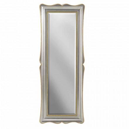 Espejo de pared en madera de plata, marfil y oro, hecho en Italia, Vittorio