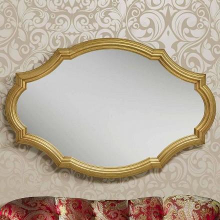 Moderno espejo de pared en plata / oro de madera, producido en Italia Davide