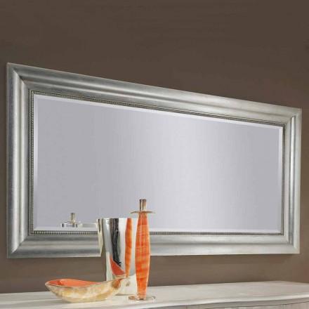 Espejo de pared hecho a mano en madera de oro / plata, producido en Italia Alessandro