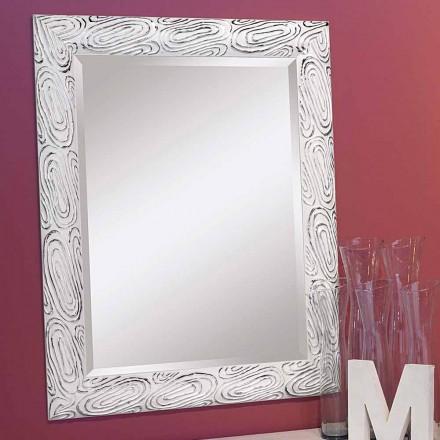 Espejo de pared en madera dorado, blanco, plateado, Eugenio, producido en Italia.