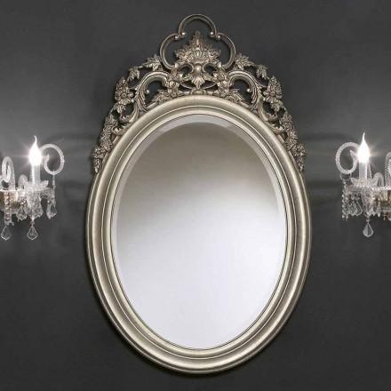 Espejo de pared oval hecho a mano en plata / oro, producido en Italia, Giorgio
