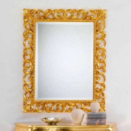 espejo de pared de diseño clásico con acabado en pan de oro de París