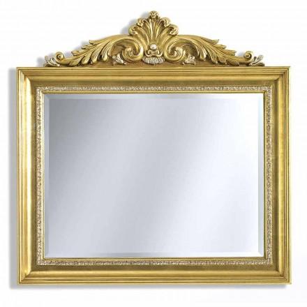 Espejo de pared en resina friso y madera, hecho a mano en Italia, Ivan.