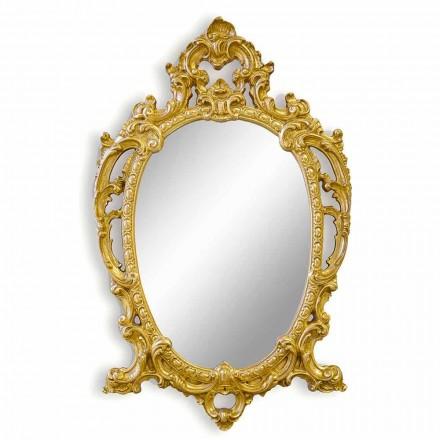 Espejo de pared ovalado hecho a mano de madera, producido en Italia, Roberto