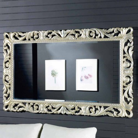 Espejo de pared de diseño moderno en madera ayous, hecho en Italia, Nicola