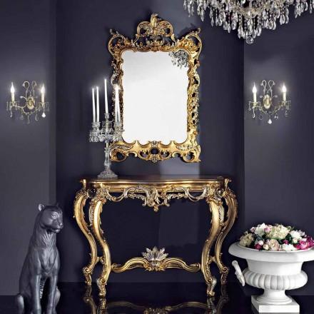 Espejo y consola de pared de madera con tablero de mesa de mdf hecho en Italia Andrea
