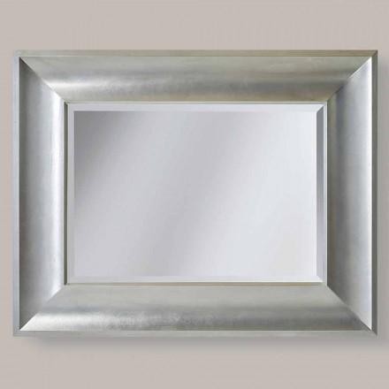 Espejo de pared de oro / plata en madera ayous, hecho en Italia, Silvio