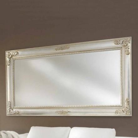 Espejo de pared hecho a mano de madera ayous, producido en Italia, Alessio