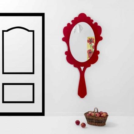 Espejo de pared rojo con marco decorado Nieve hecha en Italia