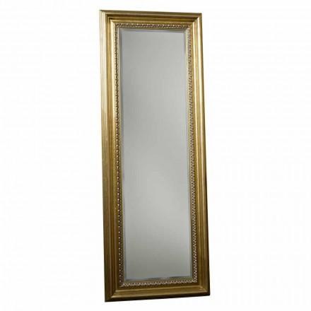 Espejo de pie de madera con pedestal, hecho a mano en Italia, Leonardo