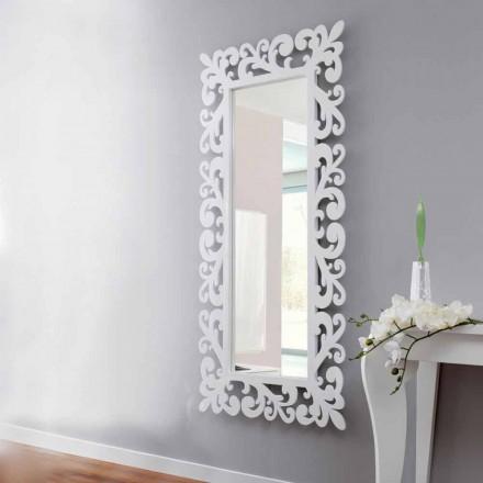 Espejo de pared de diseño rectangular grande en madera blanca moderna - Cortese