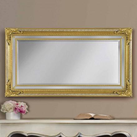 Espejo de pared moderno hecho a mano en madera ayous, hecho en Italia, Carlo