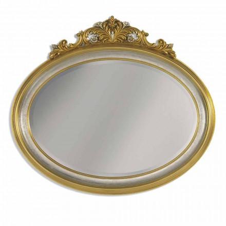 Espejo de pared en resina de friso y madera ayous, fabricado en Italia, Alberto