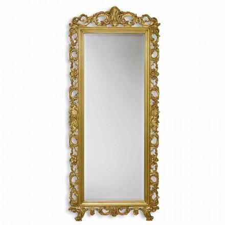 Espejo de pared de oro / plata en madera ayous, hecho a mano en Italia, Francesco