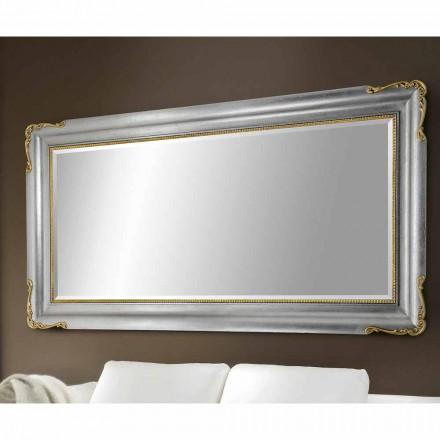 Espejo de pared hecho a mano de madera, completamente producido en Italia, Cristian.