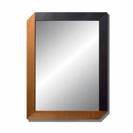 Espejo rectangular con marco de madera de diseño Made in Italy - Cira